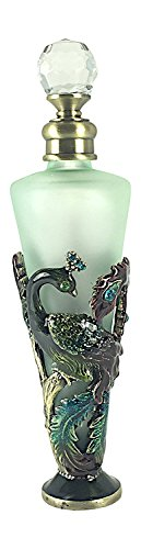 Bejeweled Peacock Perfume Bottle by Welforth 5.5 Tall