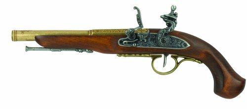 Denix Left Handed English Flintlock Pistol, Brass