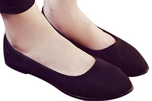 Faionny Women Shoes Soft Single Shoes Slip On Shoes Flat Ankle Boots Shallow Sandals Casual Ballerina Shoes (Black, US:8.5) ()