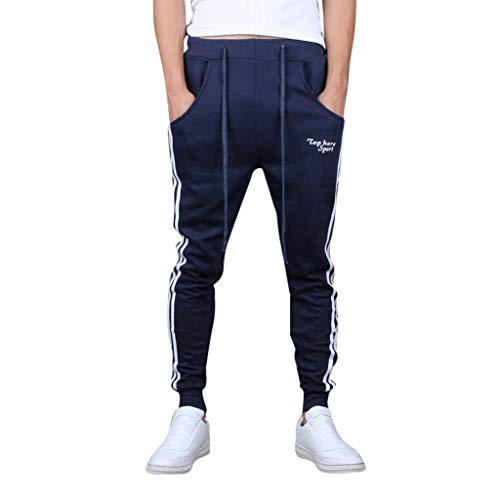 iYBUIA Mens Stripe Track Pants Skinny Fit Stretch Trouser Elastic Jogger Navy -