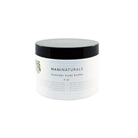 (Nalani Organic Shea Body Butter Lotion: Nalani 2-in-1 Moisturizing Cream for Skin and Hair Care - All Natural Moisturizer and Hair Mask with Natural Mango Butter, Coconut Oil, and Raw Honey - Lavender, 8 Oz)