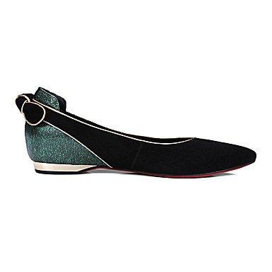 Cómodo y elegante soporte de zapatos de las mujeres pisos primavera verano otoño invierno Cachemira de vaca otros oficina y carrera vestido casual soporte de tacón con lazo negro negro