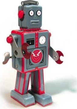 Retro Toy Robot - Clockwork Tin Robot Gray 9