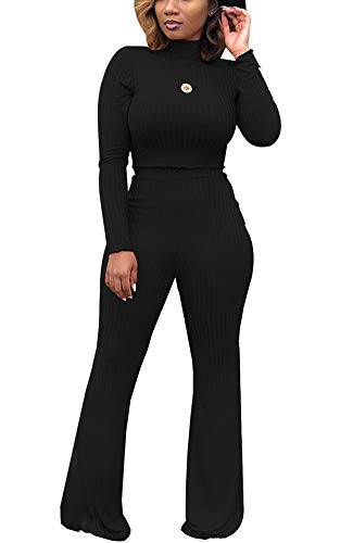 Best Party Outfits 2019 (2 Piece Outfits for Women Clubwear - Elegant Slim Long Sleeve Crop Top + High Waist Wide Leg Long Pants XX-Large)