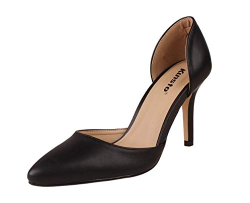 Kunsto Women's Sandals D'Orsay Heels Pointed Toe Sexy Black Size 9.5