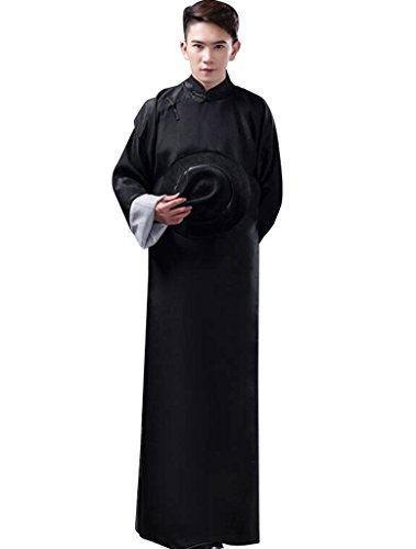 Chinese Robe Costume (springcos Chinese Costumes Men Robe Long Gown Black)