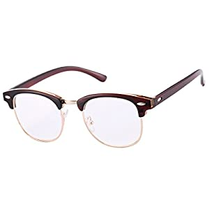 Classic Vintage Clubmaster Glasses with Clear Lens for Men Women Horn Rimmed Half Frame Eyeglasses(Brown,50mm)