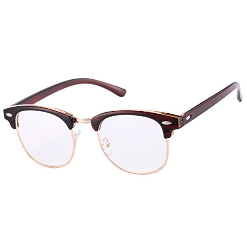 Classic Vintage Clubmaster Glasses with Clear Lens for Men Women Horn Rimmed Half Frame - Rimmed Brown Glasses