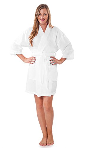 Turquaz Linen Lightweight Knee Length Waffle Kimono Bridesmaids Spa Robe (Small/Medium, White) by Turquaz Linen (Image #3)