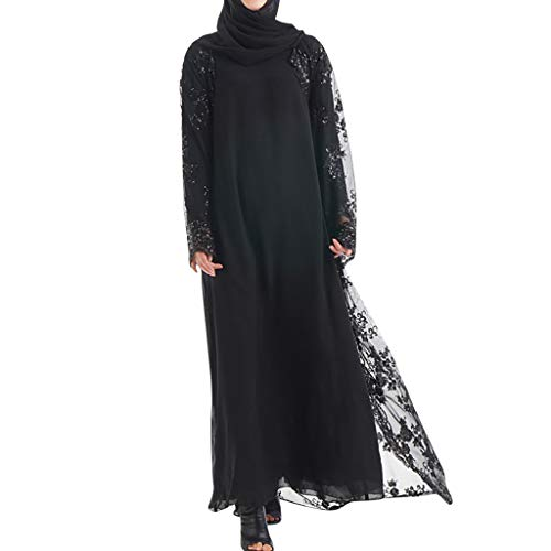 - Women's Long Dress Dress Plus Size, Muslim Lace Sequin Maxi Dress Cardigan Luxury Embroidered Seamless Outer Cardigan Open Abaya Robe Kaftan
