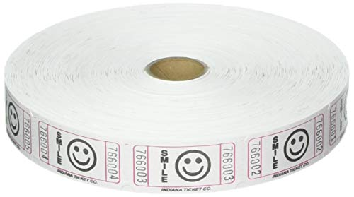 Amscan 341335 Raffle White Smiley Ticket Roll, 1