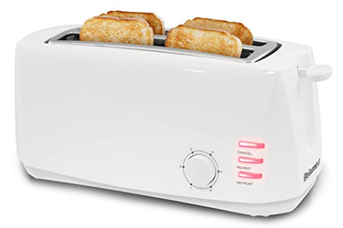 Elite Gourmet Long Cool Touch Toaster 1.25″ Defrost, Reheat, Cancel Functions, Slide Out Crumb Tray, Extra Wide Slots for Bagels Waffles, 4-Slice, White