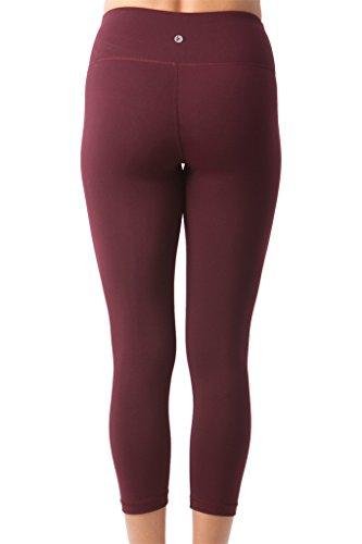 90 Degree By Reflex Yoga Capris - Yoga Capris for Women - Hidden Pocket - Burgogne - XS by 90 Degree By Reflex (Image #2)