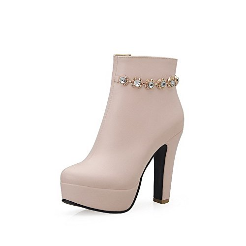 High Women's Pink Solid Low Toe top Zipper Heels Closed Round Boots Allhqfashion w481qT1