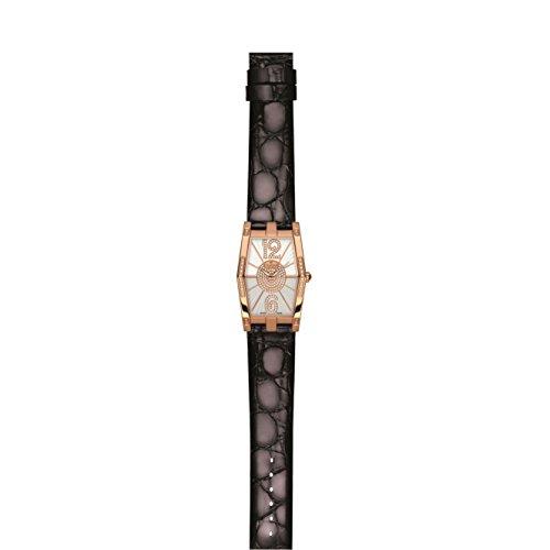 Charmex Nizza 6075 28.5x38.5mm Diamonds Stainless Steel Case Black Calfskin Synthetic Sapphire Women's Watch