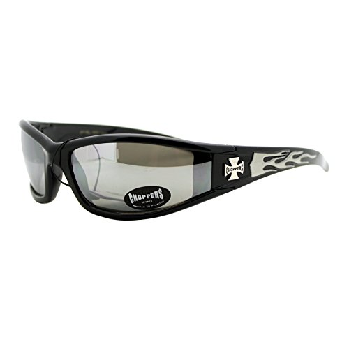 Choppers Sunglasses Motorcycle Biker Shades Black/ Silver Flame Mirror - Sunglasses Choppers