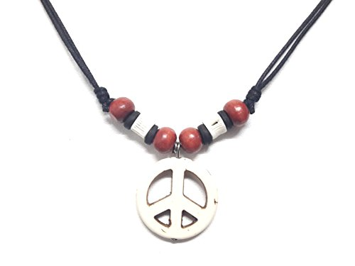 Diy Apple White Costume (Peace Sign Necklace - Peace Symbol Necklace - Stone Peace Sign Pendant - Adjustable Black Cord (White))