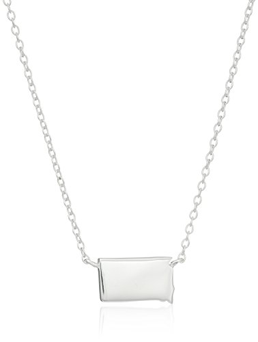 Sterling Silver Stationed Mini State South Dakota Pendant Necklace, 16