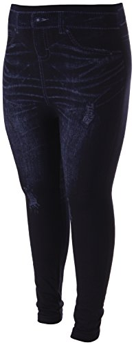 Enimay Women's Plus Size Jean Look Leggings Tights Pants Floral Design Fashion Denim Rip