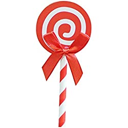Yamalans 6PCS Colorful Ribbon Lollipop Paper Cupcake Toppers DIY Mini Birthday Cake Snack Decorations Toppers Picks Party Favors Red