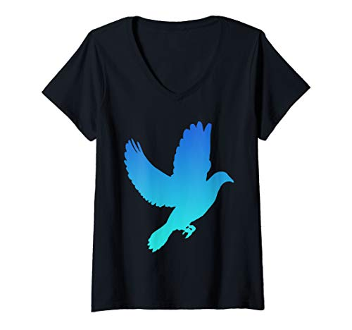 Womens Dove Birdwatching Pigeon Fly Gift V-Neck T-Shirt