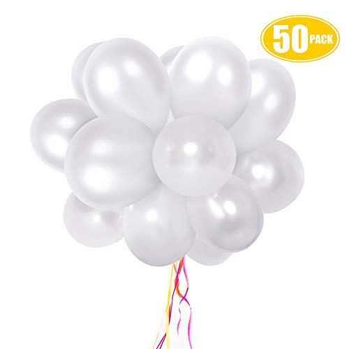 White Pearl Balloons 50 pack, 12 Inches Latex Party Balloons for Wedding Birthday Baby Shower Decorations