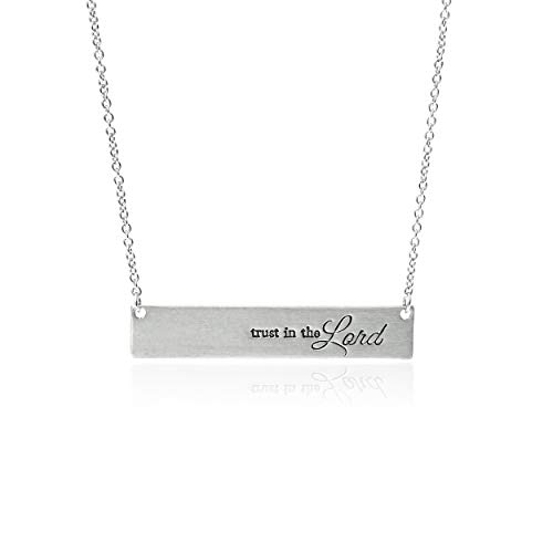 RIAH FASHION Simple Message Horizontal Bar Pendant Necklace - Inspirational Christian Religious Engraved Plate Delicate Chain Amazing Grace, Believe, Hope, Faith, Blessed (Trust in The Lord - Silver)