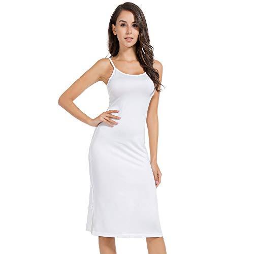 MANCYFIT Full Slip Dress for Women Spaghetti Strap Under Cami Slit Soft Sleeveless Nightgowns White - White Slip Full