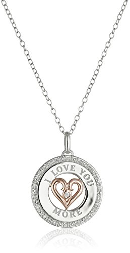 Amazon #LightningDeal 75% claimed: Sterling Silver with Rose Plating Diamond I Love You More Pendant Necklace