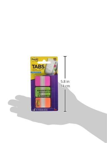 22 Tabs//Color 1 in Writable Durable Lined Green Orange Repositionable Pink Great for Files Post-it Tabs Binders and Notebooks 686L-PGO 66 Tabs//On-the-Go Dispenser,