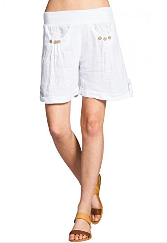 Donna Shorts Bst002 Di Lino Bianco Caspar F7ZRxTwq5Z