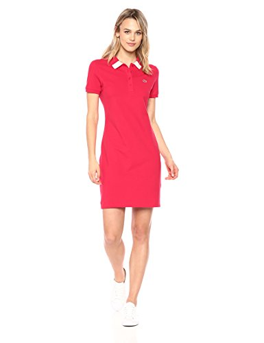 Lacoste Women's Short Sleeve Classic Stretch Fancy Polo Dress, Ef3060, Toreador/Flour ()