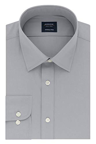 Arrow 1851 Men's Fitted Dress Shirt Poplin, Mercury, 17-17.5 Neck 32-33 Sleeve (X-Large)