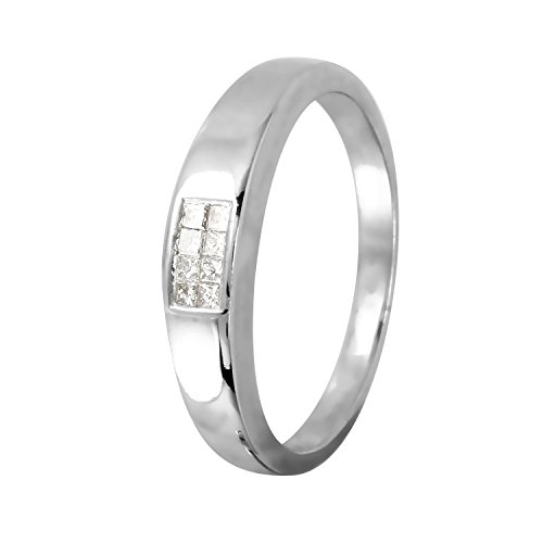 0.12 Carat Natural Diamond 14K White Gold Wedding Band for Women Size 6 - 0.12 Ct Natural