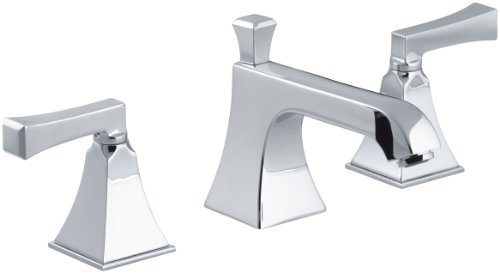Deco Widespread Lavatory Faucet - KOHLER K-454-4V-CP Memoirs Widespread Lavatory Faucet with Stately Design, Polished Chrome