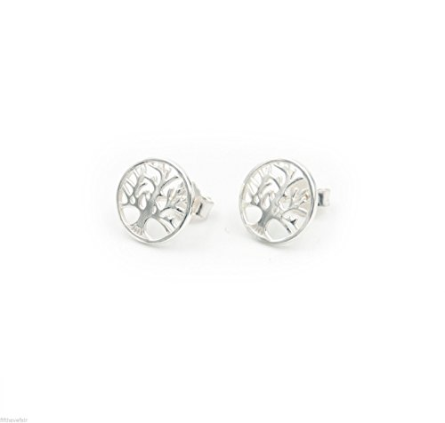 Beaute Fashion Solid Sterling Silver Jewelry Collection TREE OF LIFE FILIGREE EARRINGS 925 Sterling Silver STUD EARRINGS with Open Filigree Tree (Silver Tone)