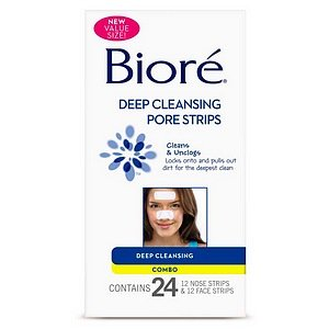 Biore Deep Cleansing Nose/Face Combo Pore Strips, 24 Stk.