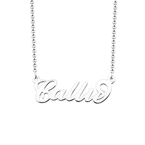 JewelryJo 925 Sterling Silver Personal Name Necklace Semi-Custom Made Customized Personalized Gift for Callie
