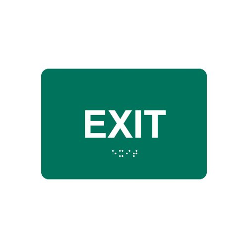 ComplianceSigns Acrylic ADA Exit Sign, 6 x 4 in. with English + Braille, Pine Green
