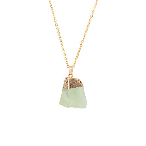Joan Nunu Natural Raw Fluorite Stone Pendant Necklace for Women Healing Chakra Crystals with Three Different Chains