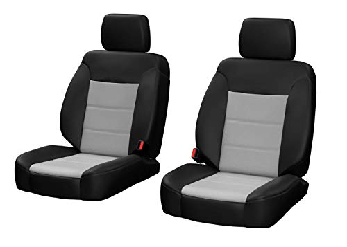 Front Seats: ShearComfort Custom Sof-Touch Imitation Leather Seat Covers for Honda Civic (1992-1995) in Black w/Gray for Buckets w/Fixed Post Separate Headrests