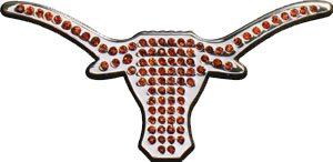 Texas Longhorns Premium Metal Auto Emblem with Orange Crystals AMG