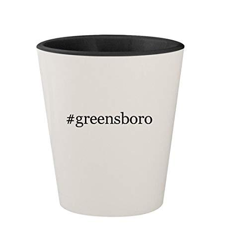 #greensboro - Ceramic Hashtag White Outer & Black Inner 1.5oz Shot Glass