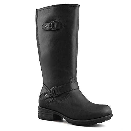 Cold Weather Fashion Boots - Comfy Moda Fashion Women's Winter Ice Snow Boots with Wide Calf Wide Toe Box Full Lined Water Resistant Cold Weather Boots Memory Foam - Nikki (8M(US), Black)