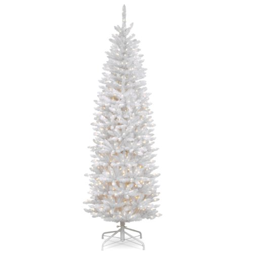 National Tree 7 Foot Kingswood White Fir Pencil Tree with 300 Clear Lights, Hinged (KWW7-300-70) (Black Pencil Christmas Tree Slim)