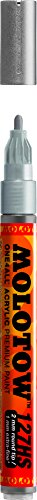 Molotow ONE4ALL Acrylic Paint Marker, 2mm, Metallic Silver, 1 Each (127.305)