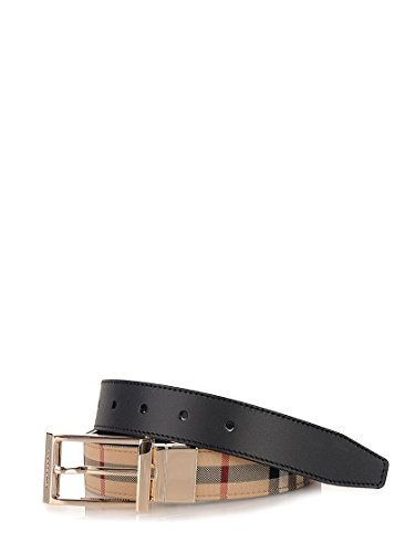 Burberry Men's Reversible Horseferry Check and Leather Belt (110, Beige)