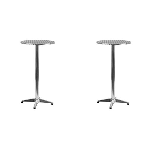 (Flash Furniture. Round Aluminum Indoor-Outdoor Folding Bar Height Table with Base (2 Set, 25.5'' inches))