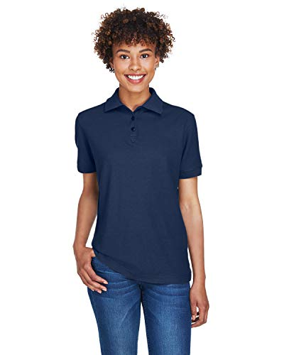 Ladies Whisper Pique Polo - A Product of UltraClub Ladies' Whisper Piqué Polo -Bulk Saving Navy