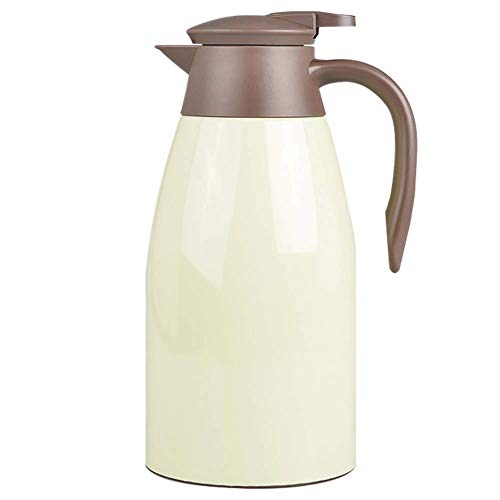 Thermal Carafe XL Vacuum Jug Flask Insulated Double Walled Stainless Steel for Tea,Coffee, Hot Cold Drinks 2L (Color : Beige, Size : 2L)